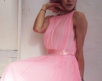HOT PINK maxi dress, sheer maxi dress,  60s Grecian MAXI Dress / s, m