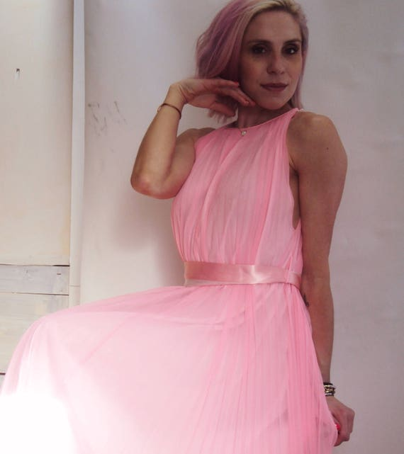 Vintage 60s pleated dress / hot pink / Knife Pleat dress / stunning / s, m
