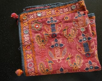 Antique Textile, Tribal Textile, Mirrorwork, Handmade India Textile, Shipping Included in the U.S.