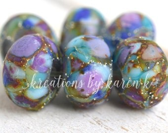 lamp work beads...SRA handmade blues & lavender lampwork beads, soft colors, beads set of (6) for making jewelry 11117-12