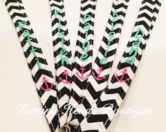 Teacher Lanyard ID Badge Holder with ANCHOR /  Personalized / Monogrammed / Teacher Appreciation Gift