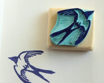 swallow stamp, hand carved, wood mounted