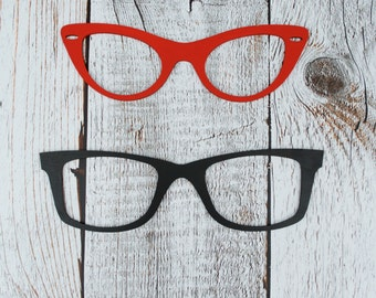 Oversized Wood Eye Glasses, Nerd Glasses, Wayfarer glasses, Cat Eye Glasses, Wall Art, Eye Glasses, You pick ONE style