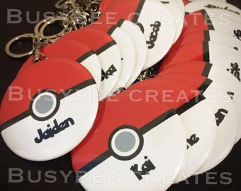 Pokemon Favours Personalized Birthday Pins - Pokemon Party Button Pins, Keychains or Magnets 10 pieces
