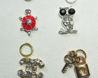 Nail dangles: Red Turtle, Owl, CC and Key with Lock Small 5A