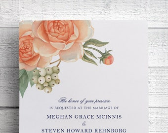 Peony Wedding Invitation, Peach Flower, Peach Floral, Garden Wedding, Outdoor Wedding, Coral Wedding, Peach and Navy, Invite