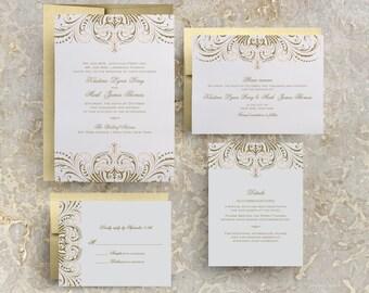 Blush Pink and Gold Invitations, DIY Wedding Invitation Suite, Great Gatsby Invitation, Vintage Wedding Invitations Templates, Printable