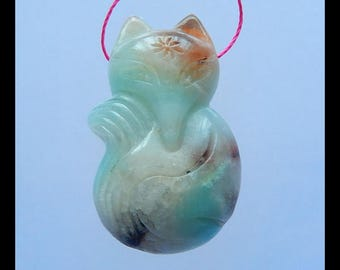 Sale! Carved Amazonite FOX Pendant Bead,Skyblue Amazonite Carving Lovely Animal,35x21x10mm,10.9g(b0629)