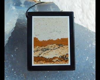 Picture Jasper,Black Agate Gemstone Intarsia Pendant Bead,40x32x5mm,16.2g(d0302)