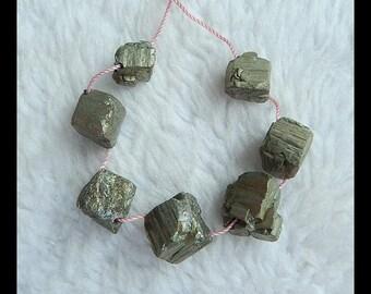 7 PCS Nugget Pyrite  Pendant Bead Set,20.4g(d0421)