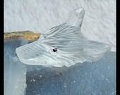 New,Carved Quartz Wolf Head Cabochon(no drilling ),43x22x14mm,17.3g