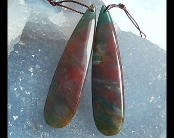 Ocean Jasper Gemstone Teardrop Earring Bead,50x12x4mm,9.1g