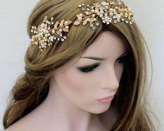 Gold Leaf Vine Wedding Headpiece. Gold Boho Delicate Crystal Pearl Bridal Wreath. Halo Headband. Rhinestone Floral Hairpiece.  FLORA