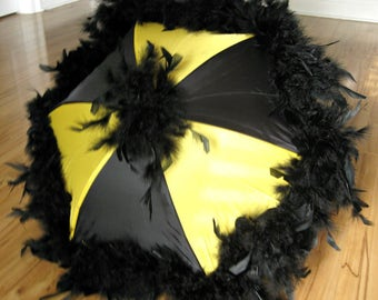 New Orleans Saints Pittsburgh Steelers Black on Black and Yellow Gold Second Line Umbrella MEDIUM- feather Fan Football Tailgate Party Decor