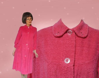 Vintage Chenille Robe - 1960s - As Is - Wearable Bathrobe or Cutter - Rhinestones - L