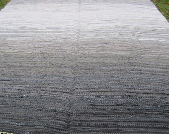 Large Handwoven, Scandinavian style,  vintage look,area rag rug - grey rock, size 6.81x 12.03 mix of grey colors