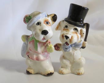 Man and Woman Dogs Vintage Salt and Pepper Shakers, dapper dogs, anthropomorphic, dressed up dogs