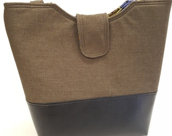 Sale!  Sophia Tote Bag in Soft Brown with Luminosity lining