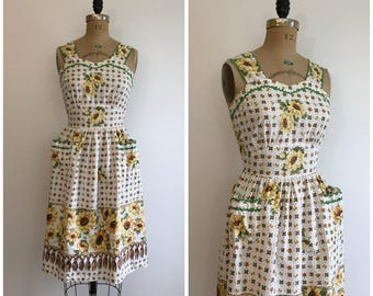 Vintage 1930s 1940s Novelty Print Cotton Pinafore Dress 30s 40s Sunflower Border Sundress