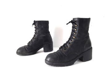 vintage SIZE 8 black leather COMBAT chunky heel vintage women's GRUNGE nirvana club kid boots
