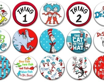 "1"" - DR. SEUSS -  Lot of 15 Buttons - Pin Back Button Badge"