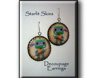 Ninja Turtle 'Donatello' Wooden Decoupage Earrings with Sterling Silver Hooks