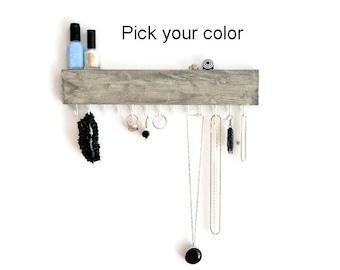 Jewelry Organizer Wall - Jewelry Holder - Rustic - Faux Barn Board - Earring Necklace Hook - Belt Hook