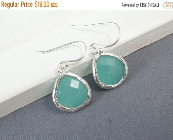 Aqua Earrings, White Gold Earrings, Mint Green, Sterling Silver Ear Wires