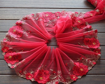 2 Yards Lace Trim Red Rose Flower Embroidered Scalloped Tulle Lace 7 Inches Wide High Quality