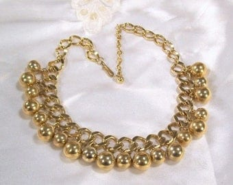 """ON SALE Vintage Necklace Dangling Ball Chunky Chain Link Gold Tone Statement 19"""" Long Evening"""