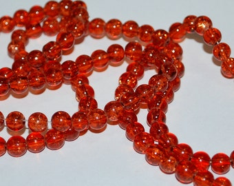 133 pcs 6mm Rust Brick Red Orange Red Crackle Beads Glass
