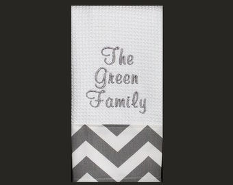 Family Name with Grey Chevron Monogrammed Dish Towel or Hand Towel | Housewarming Gift | Hostess Gift | Gifts for Her | Wedding