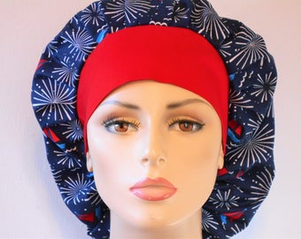 Scrub Hats Bouffant- Sailing Under the Patriotic Red White and Blue Fireworks with a Red Headband Memorial Day 4th of July Labor Day hat