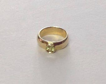 Vintage 10K Gold Baby Ring with August Birthstone Peridot Gemstone FREE SHIPPING