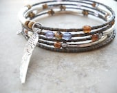 Angel wing memory wire bracelet: The Tongue of Angels | Metallics bracelet | Angel wing bracelet | Silver tube bracelet | Copper | Brass