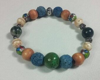 Blue Lava Bead, Peach Agate, Green Jasper Essential Oil Diffuser Bracelet Gemstones