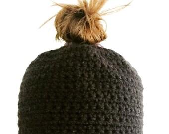 Topknot crochet beanie messy bun hat, yoga hair hat, momslife hat made to order.