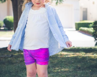 Unicorn Shorts Girls Baby Toddler Hot Pink Purple Blue Birthday 3 6 12 18 24 months 2T 3T 4T 5T 6 7 8 9 10 11 12 14 shorties holographic