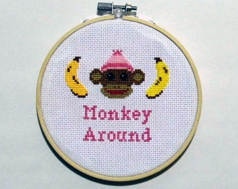 Pink Monkey Around - 5 Inch Cross Stitch Hoop