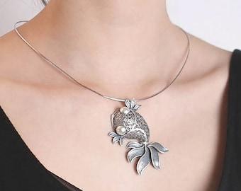 S990 sterling silver retro fashion handmade goldfish pendant