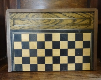 Vintage French Large Wooden Chess Draughts Checkers Backgammon Game Double Sided Board Storage Box circa 1930-40's / English Shop
