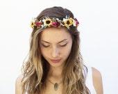 Sunflower Crown, Sunflower Headpiece, Bridal Flower Crown, Bridal Headpiece, Circlet, Rustic Wedding, Floral Crown, Hair Wreath, Boho Bride
