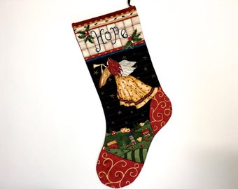 Angel Christmas Stockings - Quilted Holiday Decor - Childrens Sock with Trumpet - - Christmas Gold - Sally Manke Fiber Art - Ready to Ship