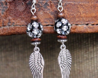 Angel Wing Rhinestone Bohemian Earrings - Rustic Boho Chic Jewelry