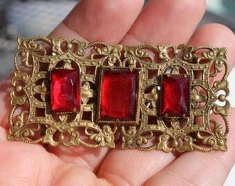 Vintage Czech Red Rhinestone Brass Belt Buckle Czechoslovakia Vauxhall Glass Art Deco Filigree