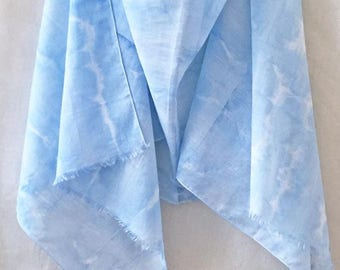 Blue Shibori Scarf, Blue Cotton Scarf, Tribal Scarf, Hand Painted Scarf, Watercolor Scarf, Boho Scarf, Hand Dyed Scarf, Festival Scarf, USA