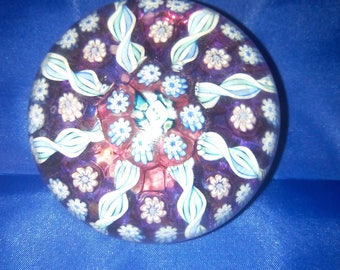 Vintage Art Glass Millefiori Paperweight Hand Made in Scotland by John Deacons