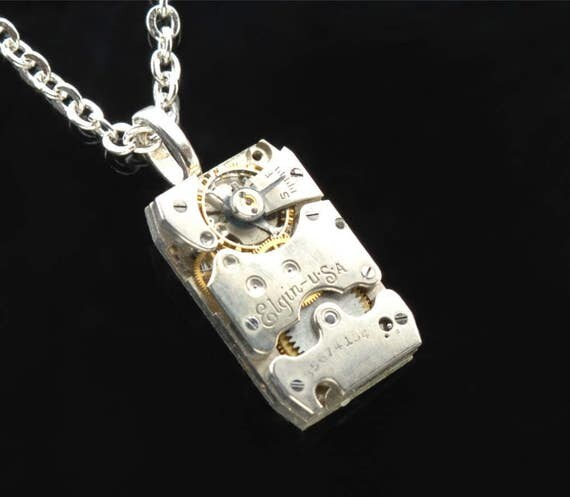 Steampunk Necklace, ART DECO ELGIN Steam Punk Necklace, Vintage Watch Necklace, Rectangular Mens Steampunk Jewelry By Victorian Curiosities