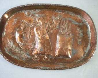 Nice Vintage Embossed Copper Tray