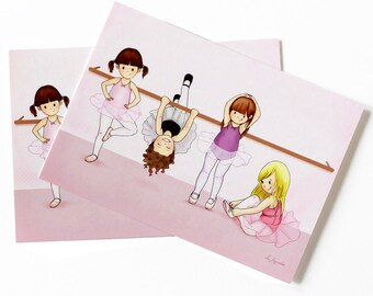BALLERINAS POSTCARD - Children's Wall Art Print - Kids Decor - Wall Art Illustration - Girl's nursery - ballerina decor - 4.1 x 5.8 in